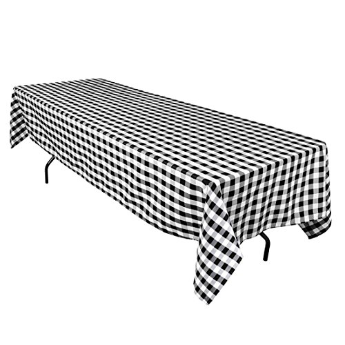 LinenTablecloth 60 x 126-Inch Rectangular Polyester Tablecloth Black & White Checker (Black & White Checkered Tablecloth)