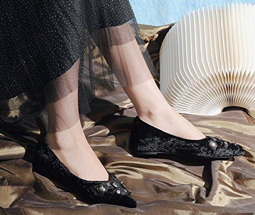 Noir Rivets Femme Aisun Danse Ballerines Loafers Confortable Strass wS0yBxHRq
