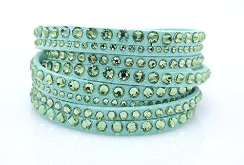 Lime Crystal Bracelet - Crystal Creations Lime Green Wrap Bracelet made with Crystals from SWAROVSKI. Adjustable Sizing.