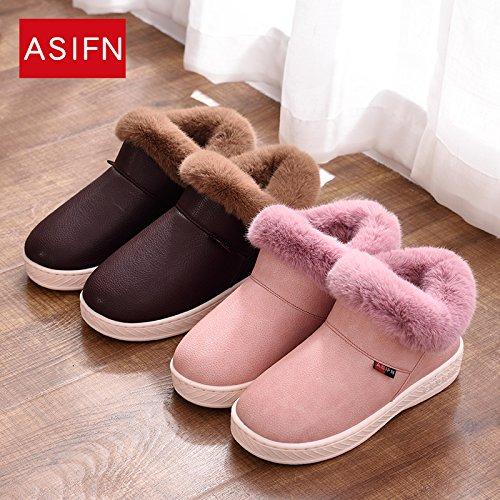 CWAIXXZZ pantofole morbide Inverno pantofole di cotone confezione con un paio di ragazze rimanere impermeabile anti-slittamento spesso caldo su uomini e donne il cotone felpato scarpe adatte per indos
