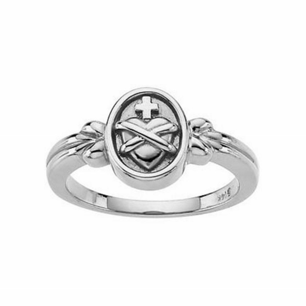 Roxx Fine Jewelry Sacred Heart of Jesus Ring 14K White Gold 10mm R6506