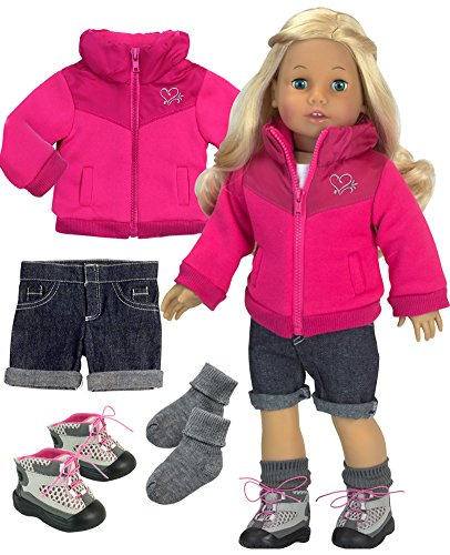 Sophia's Doll Clothes, Complete 18 Inch Doll Jacket with Denim Shorts, Socks and Hiking Boots, Hiking Doll Outfit