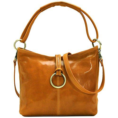 - Floto Tavoli Leather Shoulder Bag Cross Body Tote in Olive Honey Brown