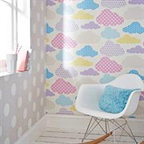 Superfresco Easy Marshmallow Clouds & Harlequin Print Wallpaper