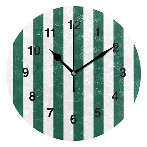 Jojogood White and Green Stripe Clock Wall Decor Acrylic Decorative Round Clock for Home Bedroom Living Room Art ()