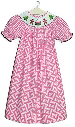 Hand Smocked Christmas Tree & Gingerbread Man Pink Dress The Smocked Shop! (2T)