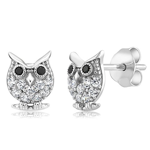 925 Sterling Silver Owl Shaped Stud Earrings Made With Swarovski Zirconia