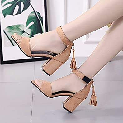 Unbekannt Damen Sommer Sandalen High Heels Offenen Zeh Dick mit Wildleder Reine Farbe Quaste, Braun, 38