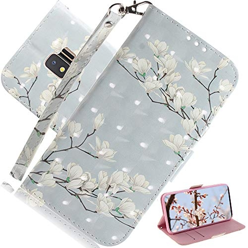 EMAXELER Samsung Galaxy J2 Core Case 3D Creative Cartoon Pattern PU Leather Flip Wallet Case Kickstand Credit Cards Slot Stand Case Cover for Samsung Galaxy J2 Core White Flower TX.