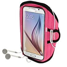 iGadgitz Water Resistant Pink Sports Jogging Gym Armband for Samsung Galaxy S6 SM-G920 & S7 SM-G930
