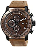 Akribos XXIV Men's AK743BR Explorer Bronze-Tone Stainless Steel Watch with Leather Band