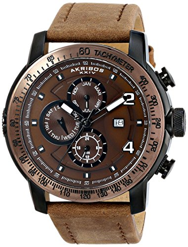 Akribos-XXIV-Mens-AK743BR-Explorer-Bronze-Tone-Stainless-Steel-Watch-with-Leather-Band