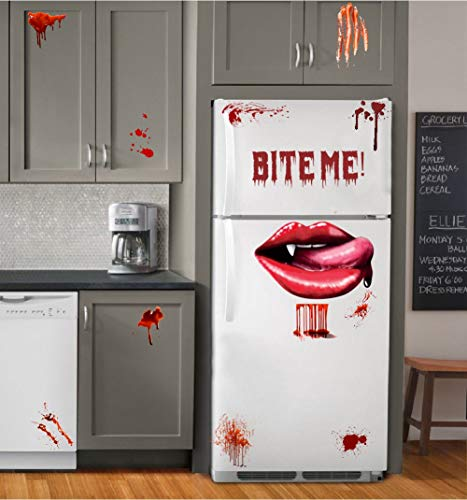 Halloween Bloody Vampire Lips Decal, Bite Me Scary Lettering Sticker, Blood Drop with Bloodstains Sticker, Windows and Fridge Art Murals for Halloween]()