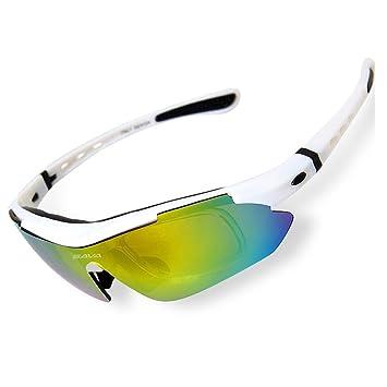 SAVADECK TR90 Gafas de Sol Deportivas Polarizadas Manera Reflexiva de Deportes al Aire Libre para Bicicleta Actividades con 5 Lentes de Cambio
