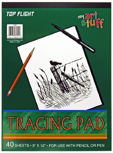 Top Flight Tracing Paper Tablet, Transparent, Erasable Surface, White, 9 x 12 Inches, 30 Sheets (65301) Top Flight Inc.