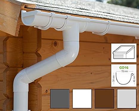 in 4 Farben! Komplettes Set bis 5.25 m, Wei/ß Dachrinnen//Regenrinnen Set 1 Dachseite Pultdach | GD16