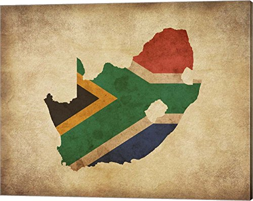 Map with Flag Overlay South Africa by Color Me Happy Canvas Art Wall Picture, Gallery Wrap, 20 x 16 - South Africa Pictures