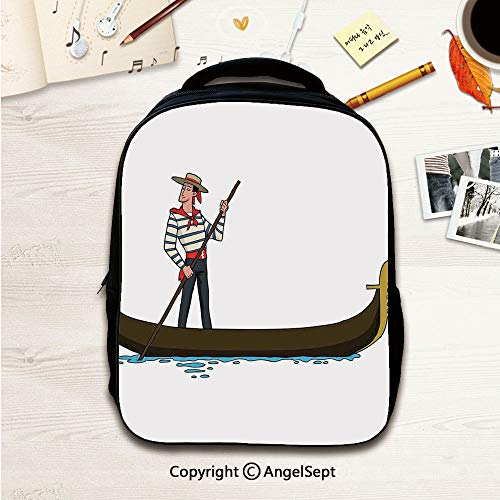- With Multi-Function Waterproof Material Bags,Illustration of Gondola in Romance City Venice European Symbol of Love Italian Decor Brown White 12.2inches,With Multi Pocket Polyester