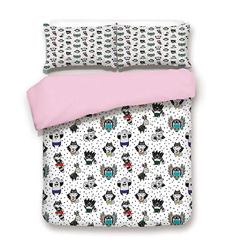 Pink Duvet Cover Set,King Size,Animal Owl Dear Fox Cat Penguin Raccoon Bear in Superhero Costumes Print,Decorative 3 Piece Bedding Set with 2 Pillow Sham,Best Gift For Girls Women,White Seal Brown ()