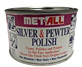 Met-all Silver Pewter Polish Instantly shines, cleans, polishes Silverwares, Trophies, Antiques, Cutlery, trays, Flatware, Decoratives, Collectibles 16oz + EXTRA LARGE Mircofiber Cleaning Cloth