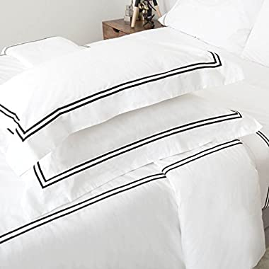 200 Thread Count Pure Cotton Percale Resort Style Duvet Cover with Matching Pillow Shams sold by LinenSpa - Oversized Queen - Black