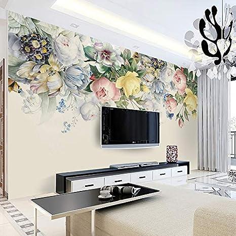 HUANGYAHUI Carta da Parati Fiore Floreale Rosa Dipinto a Mano della Carta della Parete della Foto del contesto del salone-125cm W x 80cm H