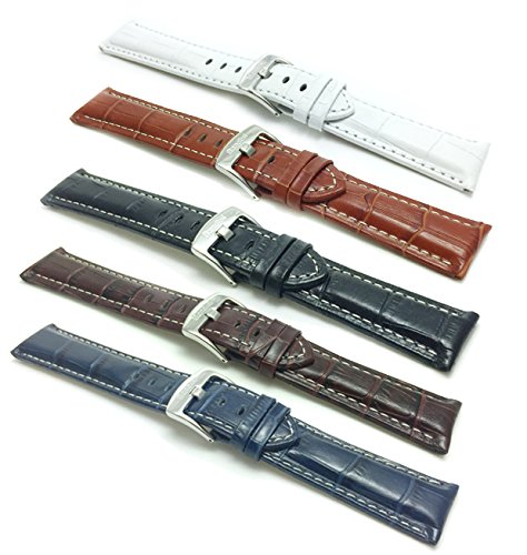 18mm-to-30mm-wide-Mens-Alligator-Style-Genuine-Leather-Watch-Band-Strap-With-White-Stitching-Glossy-Finish-Comes-in-Black-White-Royal-Blue-Brown-and-Tan