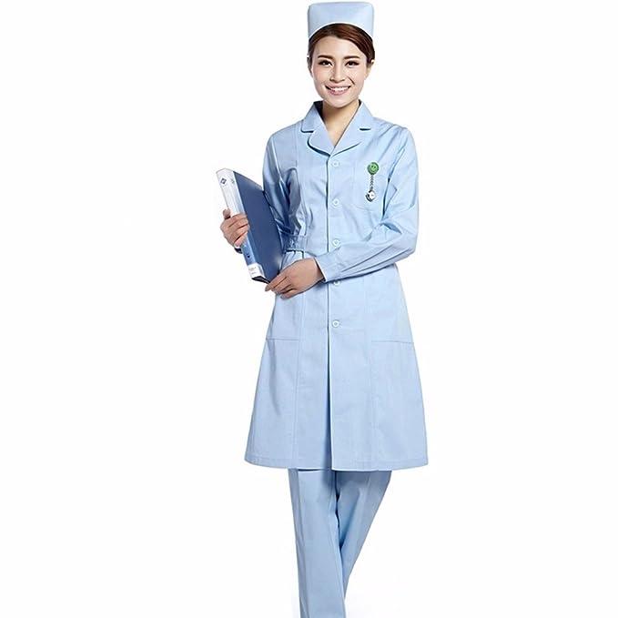 YISHIYI Enfermera Gruesa Bata Blanca De Manga Corta De Verano Belleza Doctor Use Farmacia Experimento De Laboratorio, XXL, Azul: Amazon.es: Ropa y ...