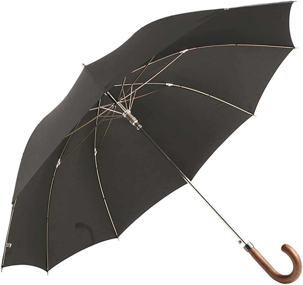 Mens City Walking Length Auto Umbrella with Wooden Crook Handle