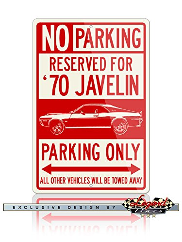 AMC Javelin Coupe 1970 Reserved Parking Only Aluminum Sign - 12 by 18 inches (1, Large) - Great American Classic Car (1970 Coupe)