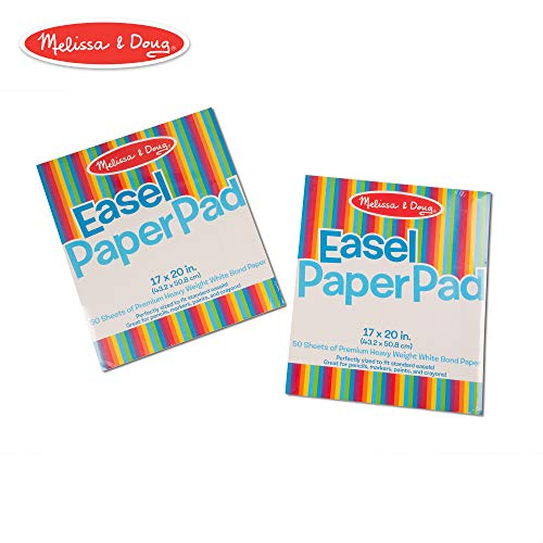 Melissa & Doug Easel Paper Pad (Top-Bound Pad, Premium White Bond Paper, 2-Pack with 50 Sheets, 17 × 20 inches)
