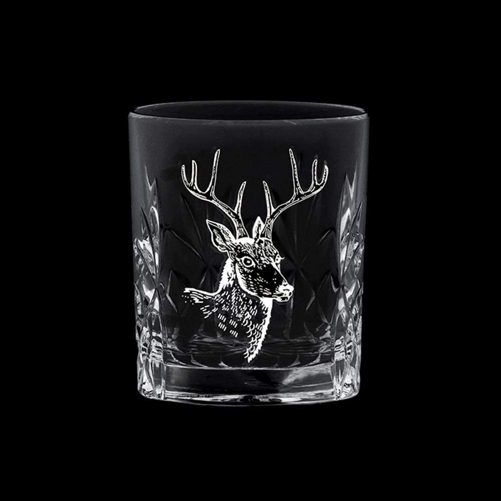 en caja de regalo cristal cortado a manoun Dram /«A Wee Dram/» cardo de Escocia Vaso de chupito de cristal cortado a mano Royal Scot 55 ml dise/ño de cabeza de ciervo