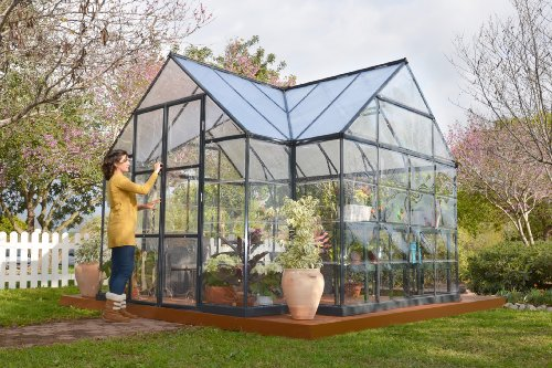 Palram Four Season Chalet Hobby Greenhouse – 12 x 8 x 9 Charcoal Gray