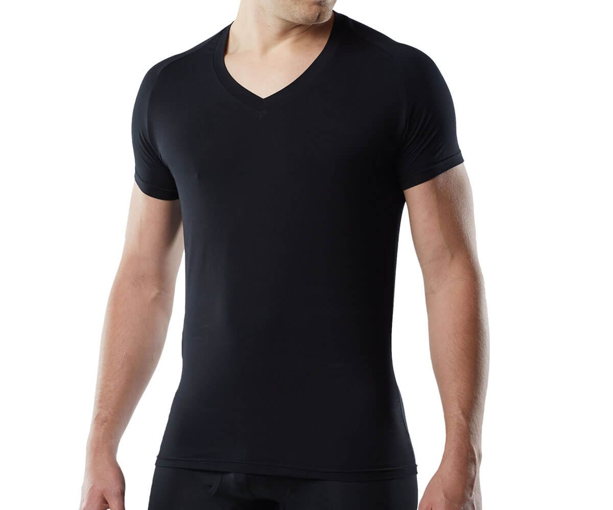 Mr. Davis Men's Bamboo Viscose Tailored Cut V Neck Undershirt, XL, Black, 6 Pack