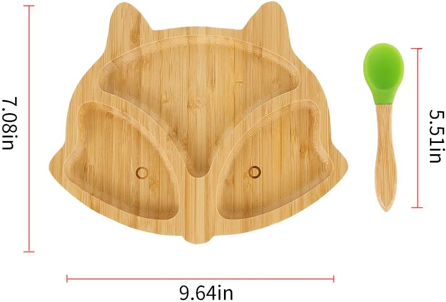 Personalized Baby Plate Bamboo Baby Toddler Weaning Suction Plate with Spoon Bear Stay Put Feeding Plate Natural Bamboo Plates with Suction Suction Plates for Toddlers
