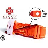 Tourniquet -(ORANGE) Recon Medical Gen 3 Mil-Spec Kevlar Metal Windlass Aluminum First Aid Tactical Swat Medic Pre-Hospital Life Saving Hemorrhage Control Registration Card 1 Pack
