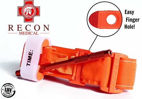 Recon Medical ORNGTQTourniquet -(ORANGE) Gen 3 Mil-Spec Kevlar Metal Windlass Aluminum First Aid Tactical Swat Medic Pre-Hospital Life Saving Hemorrhage Control Registration Card 1 (Gen Metal)