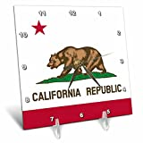 3dRose dc_158295_1 Flag of California Republic Us American State United States of America The Bear Flag White Red Desk Clock, 6 by 6-Inch