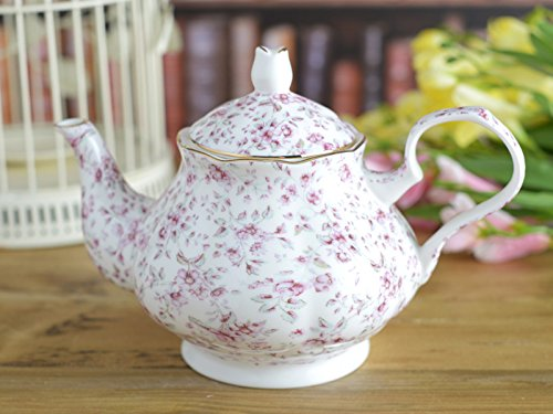 Katie Alice White Ditsy Floral Shabby Chic Bone China 6 Cup Tea Pot