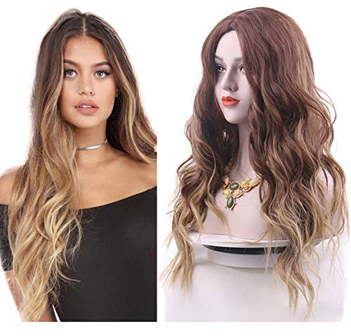 (Brown Wigs for Women Ombre Blonde Wavy Long Curly Natural Looking Daily Ladies Synthetic Wigs with Wig Cap(Brown to Blonde))