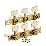 FLEOR 3 on A Plate 2 Row Guitar Tuning keys Acoustic Folk Guitar Machine Heads Tuners Set,Golden Color