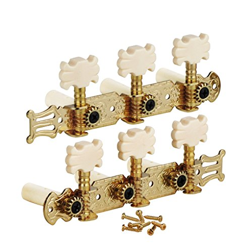 FLEOR 3 on A Plate 2 Row Guitar Tuning keys Acoustic Folk Guitar Machine Heads Tuners Set,Golden Color by FLEOR