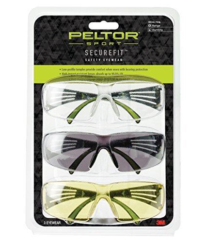 Peltor Sport SecureFit 400 Glasses, 3 Pack: Clear + Amber + Gray Lenses, Anti Fog by -
