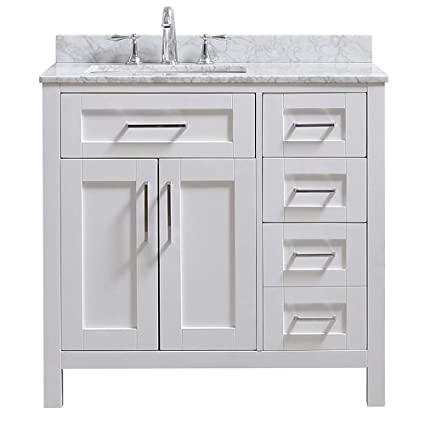 Amazing Ove Decors Tahoe 36W Marble Top Single Bathroom Sink Vanity 36 Inch By 21 Inch White Download Free Architecture Designs Sospemadebymaigaardcom