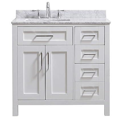 Pleasing Ove Decors Tahoe 36W Marble Top Single Bathroom Sink Vanity 36 Inch By 21 Inch White Interior Design Ideas Clesiryabchikinfo