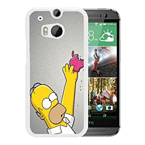 Grace Protactive homer simpson and apple White Case Cover for HTC ONE M8