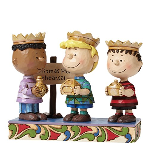 Peanuts by Jim Shore Three Wise Men Linus, Schroeder, Franklin Stone Resin Figurine, 4.6