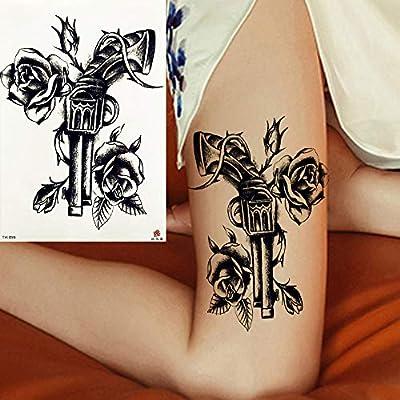 Tatuajes Temporales Gun Roses Flower Etiqueta Engomada Del Tatuaje ...