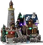 Santa's Animated Lighthouse Village Figurine by The San Francisco Music Box Company