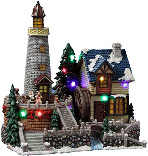 Santa's Animated Lighthouse Village Figurine by The San Francisco Music Box Company (Collectibles Christmas)